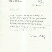 Brief Berg an Arleth vom 06.08.1964