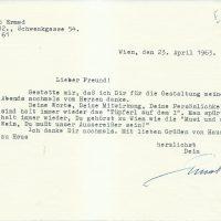 Brief Adler sen an Arleth 23.04.1963