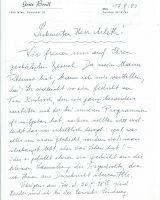 Brief Bredl an Arleth vom 17.09.1980 – 1
