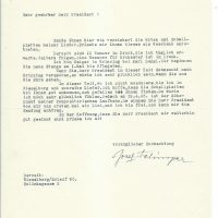 Brief Felsinger an Arleth 22.04.1965
