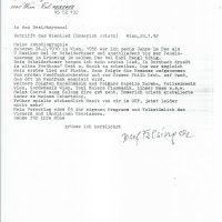 Brief Felsinger an Arleth 28.01.1992