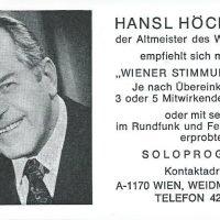 Hans Höchsmann Visitenkarte