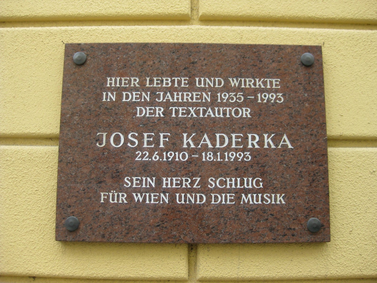 Josef Kaderka Gedenktafel