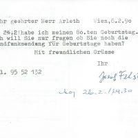 Karte Felsinger an Arleth 06.02.1990