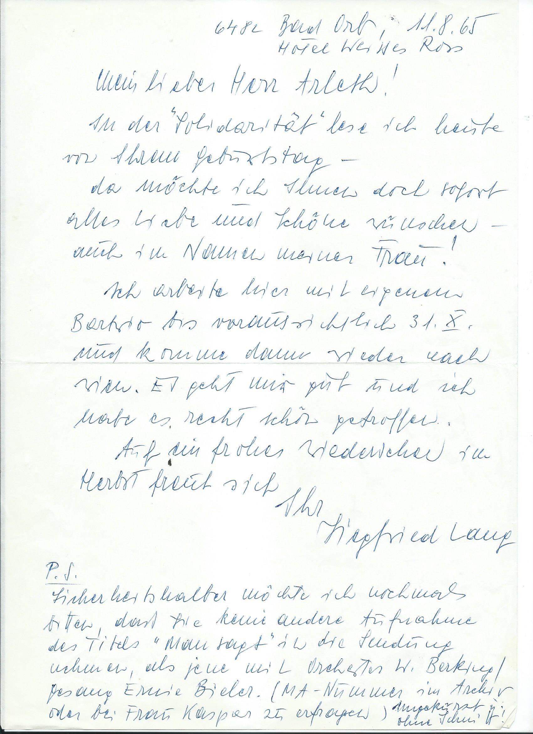 Brief Lang an Arleth 11.08.1965