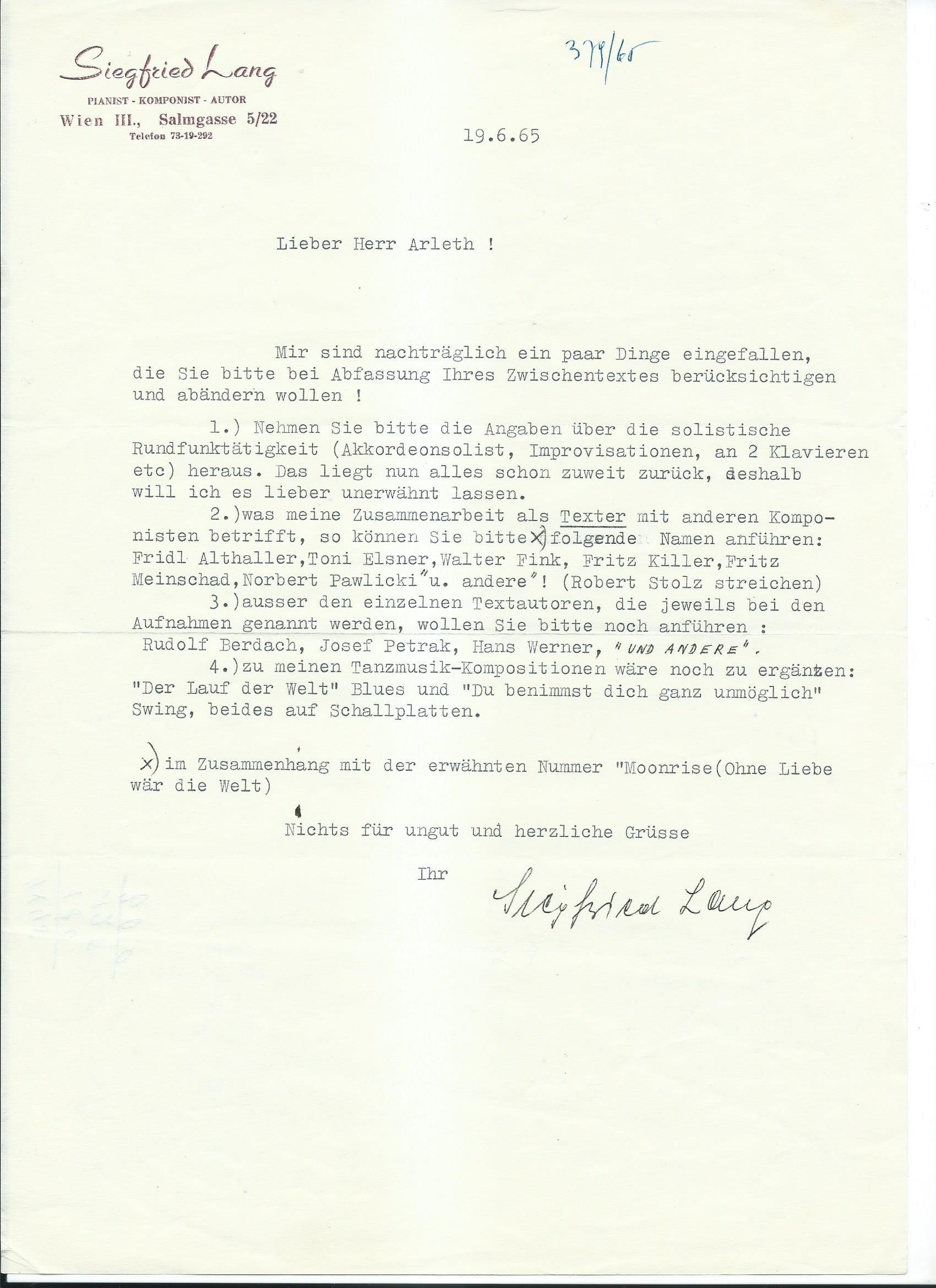 Brief Lang an Arleth 19.06.1965