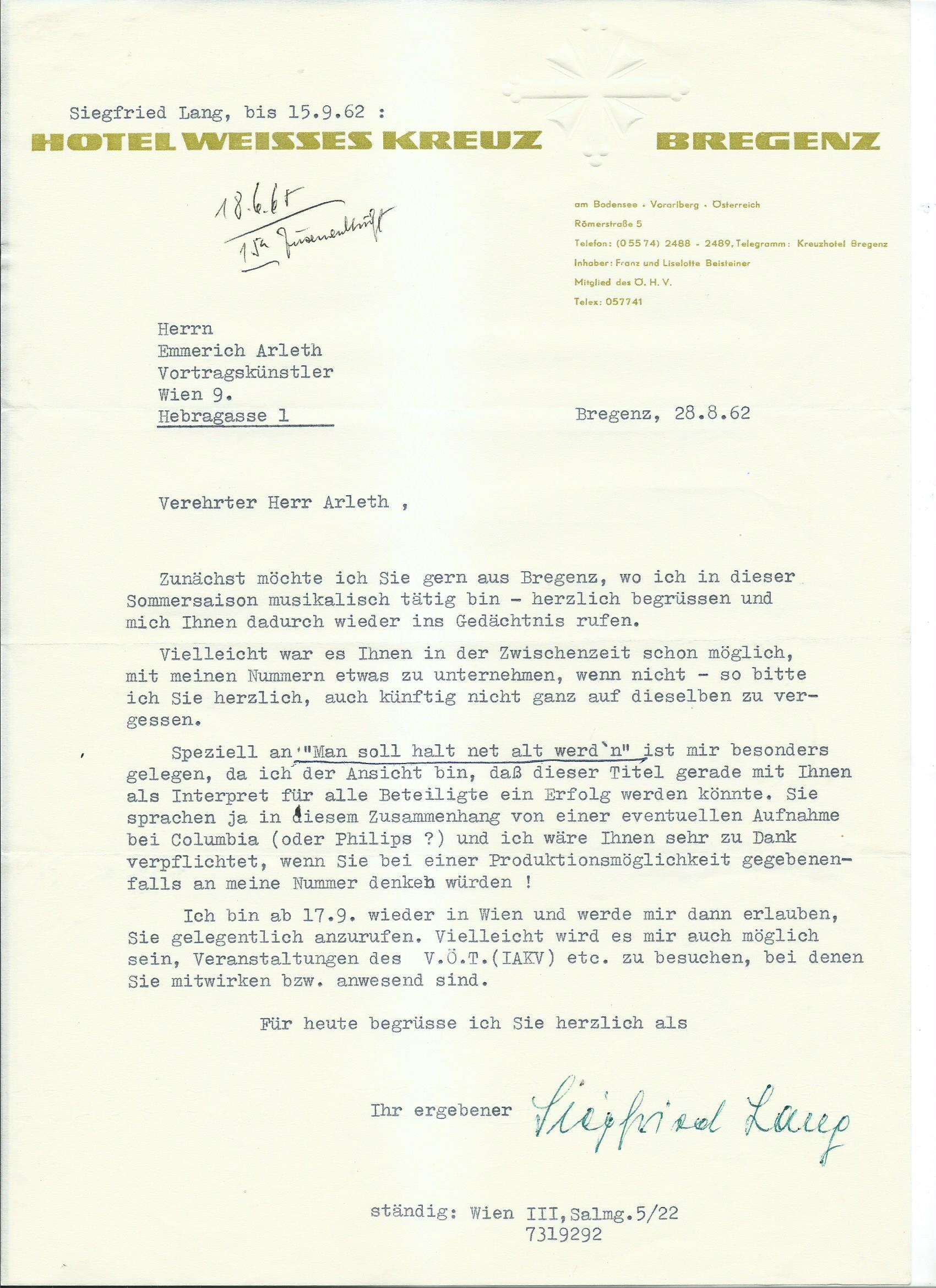 Brief Lang an Arleth 28.08.1962
