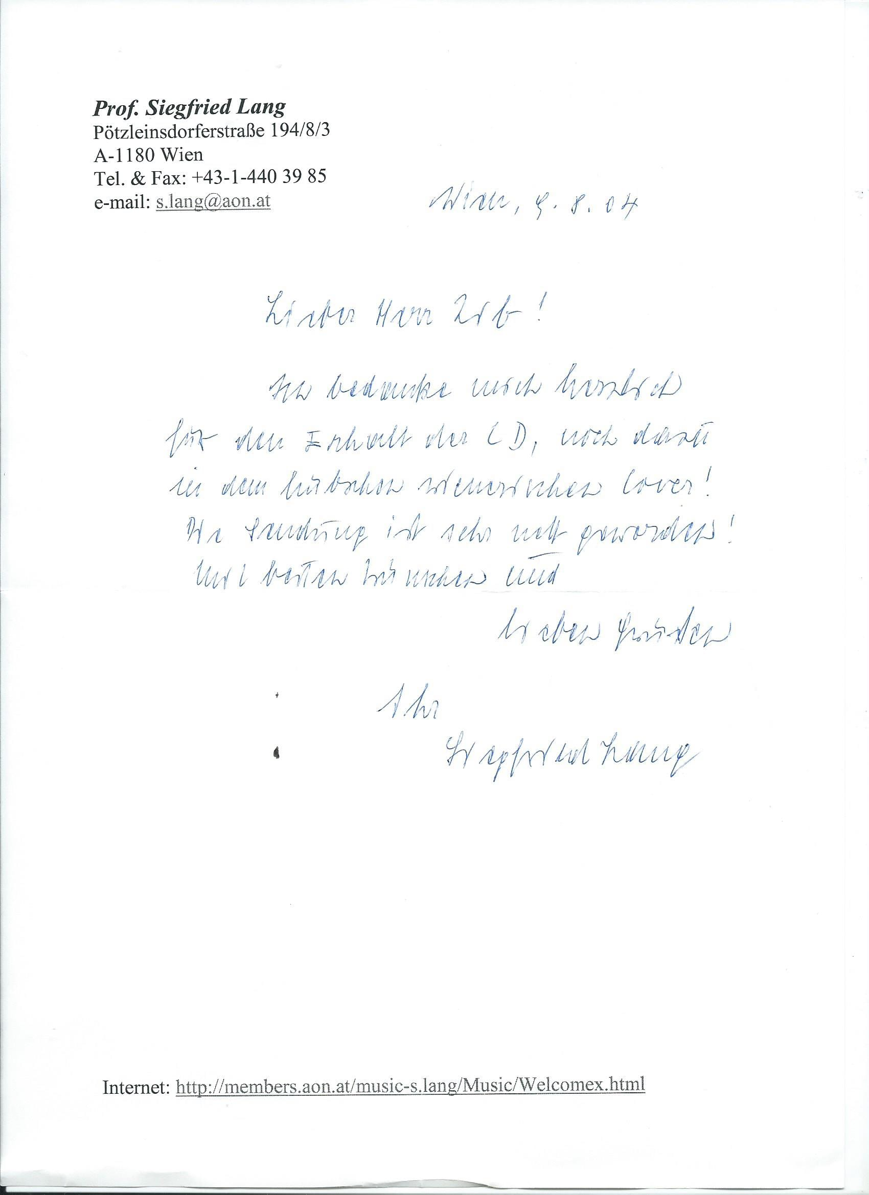 Brief Lang an Zib 09.08.2004
