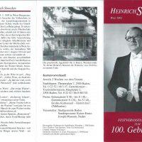 Heinrich Strecker 100. Geburtstag – I