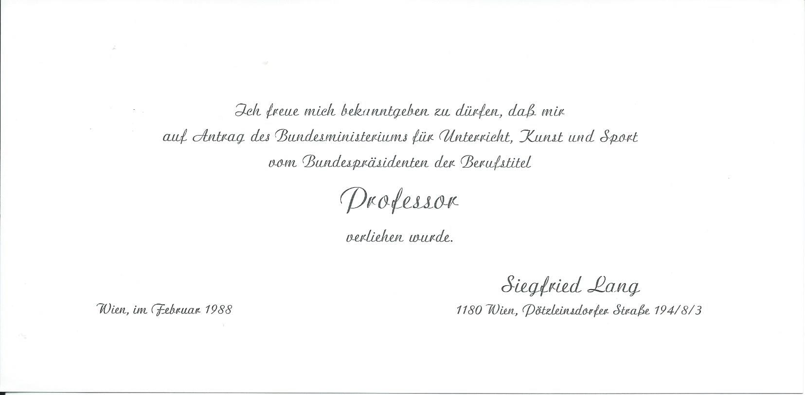 Mitteilung Professor Februar 1988