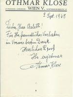 Zeilen Klose an Arleth 09.09.1968