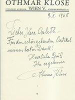Zeilen Klose an Arleth 09.10.1968