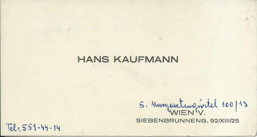 Hans Kaufmann Visitenkarte – 1