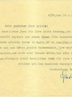 Brief Miklos an Arleth 24.01.1985