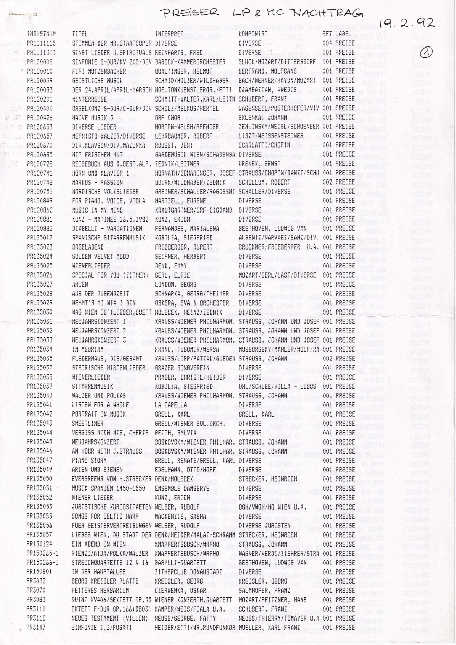LP & MC Nachtrag 1992 – 1