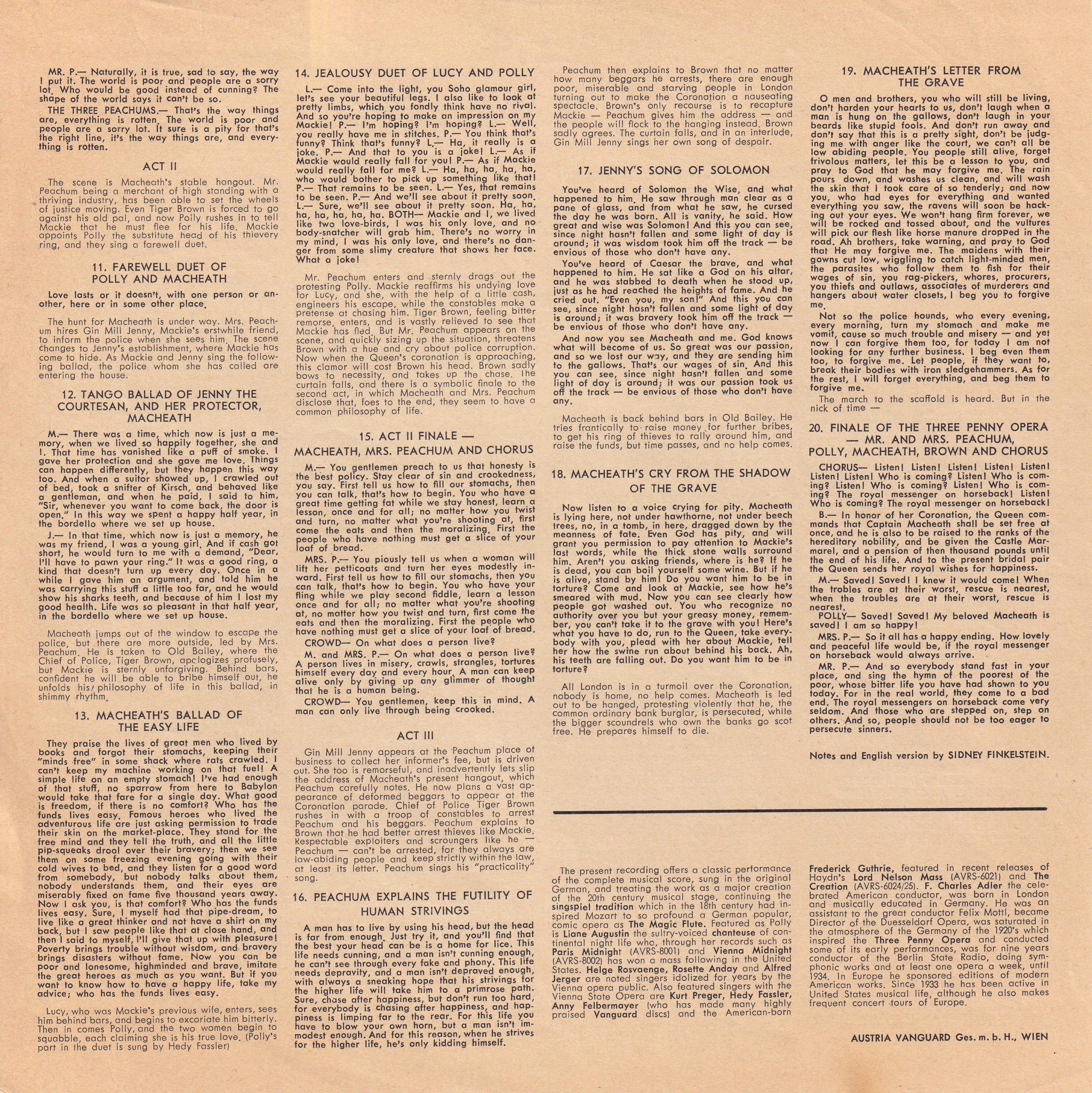 Dreigroschenoper – Beiblatt – 2