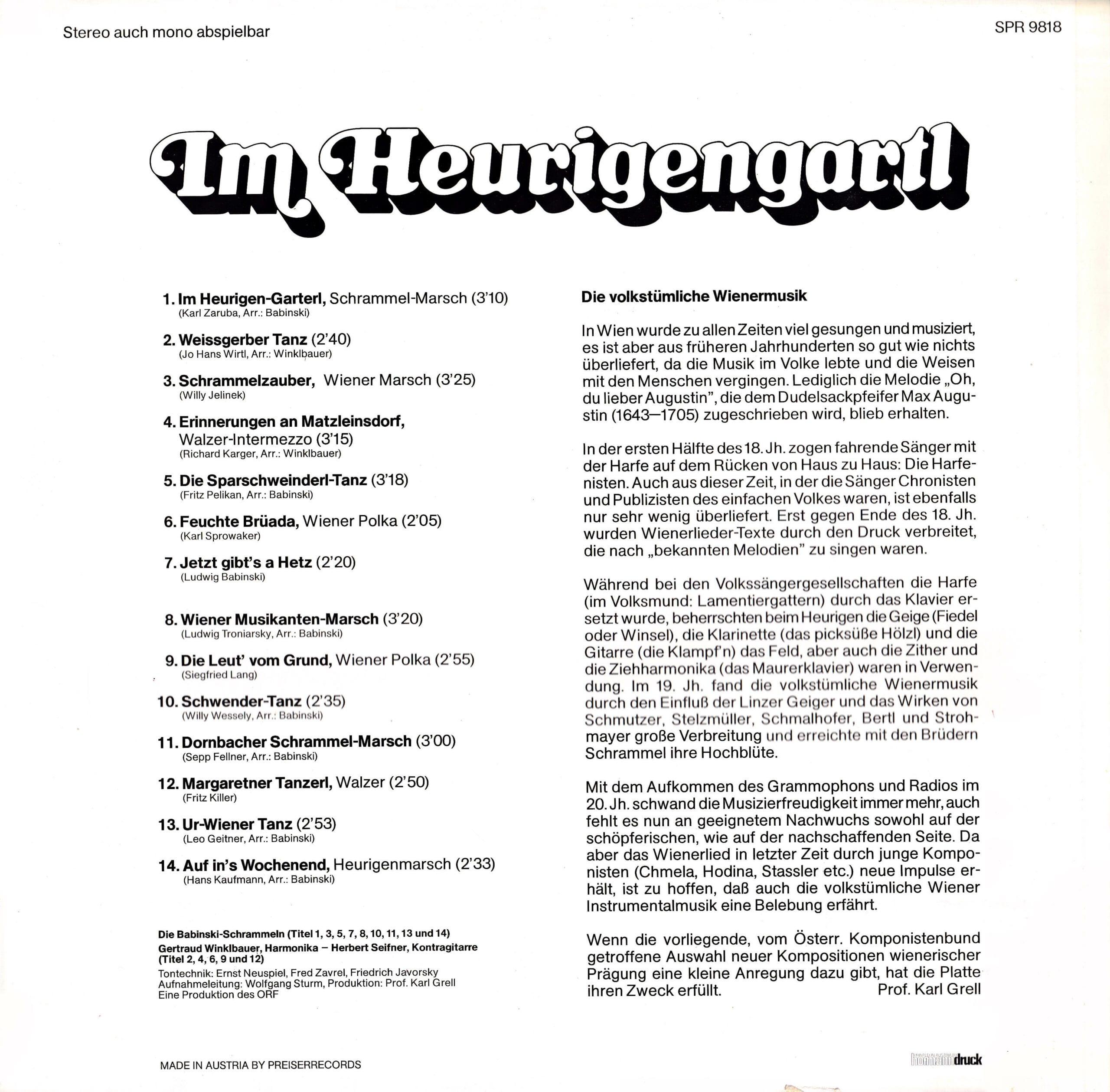 Im Heurigengartl – 2