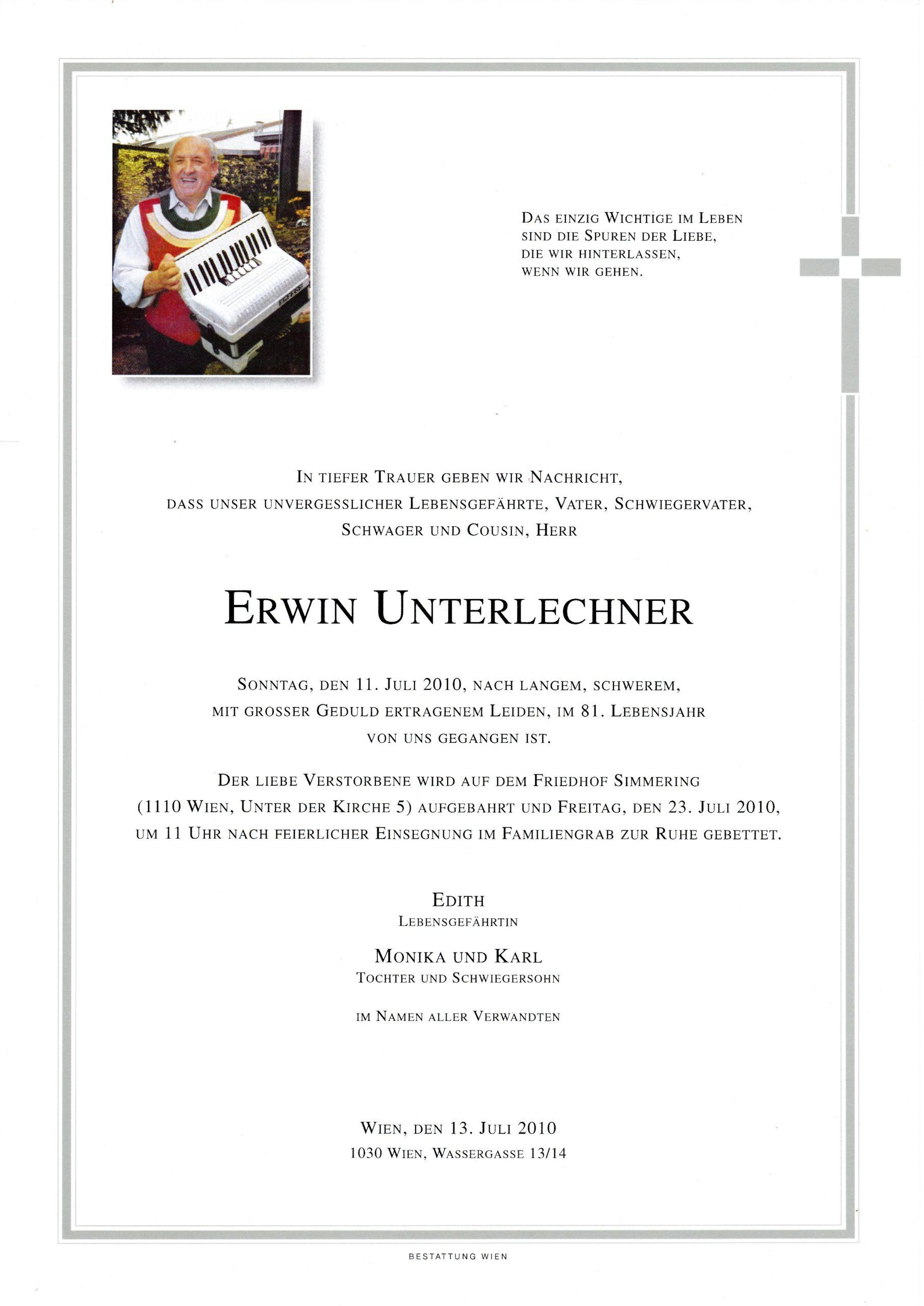 Erwin Unterlechner Parte