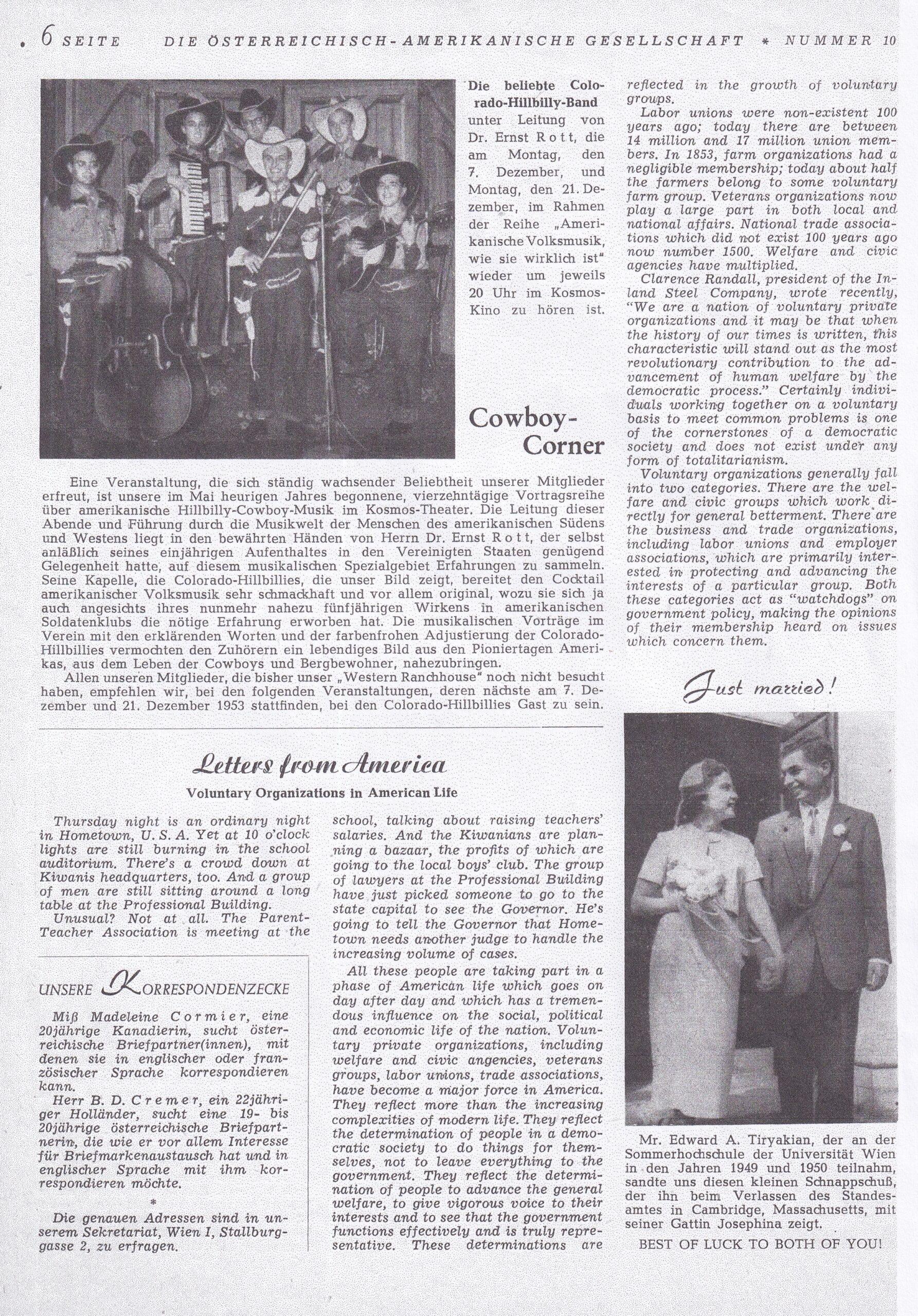 Zeitung vom Dezember 1953